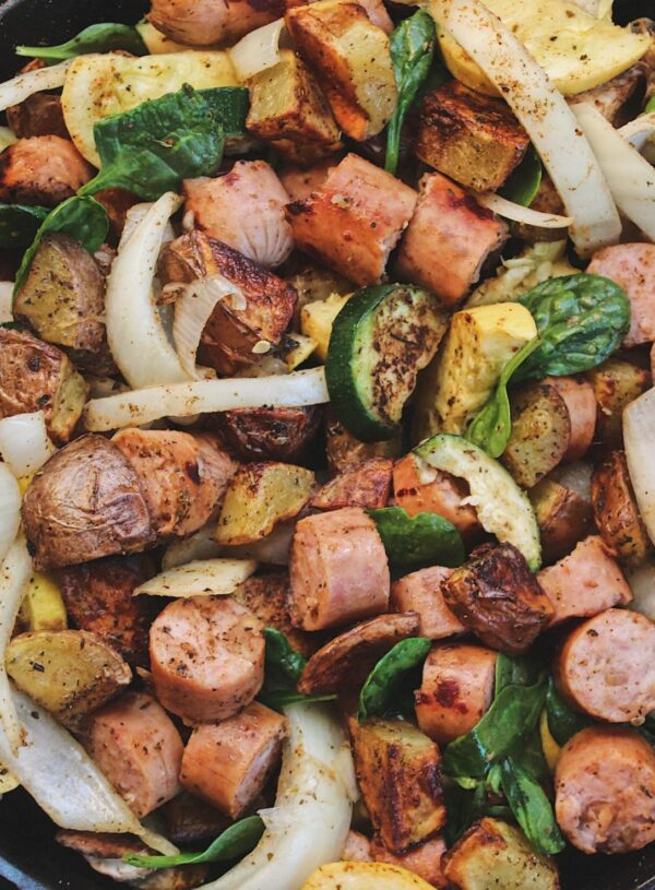 Roasted Chicken Sausage with Potatoes and Squash